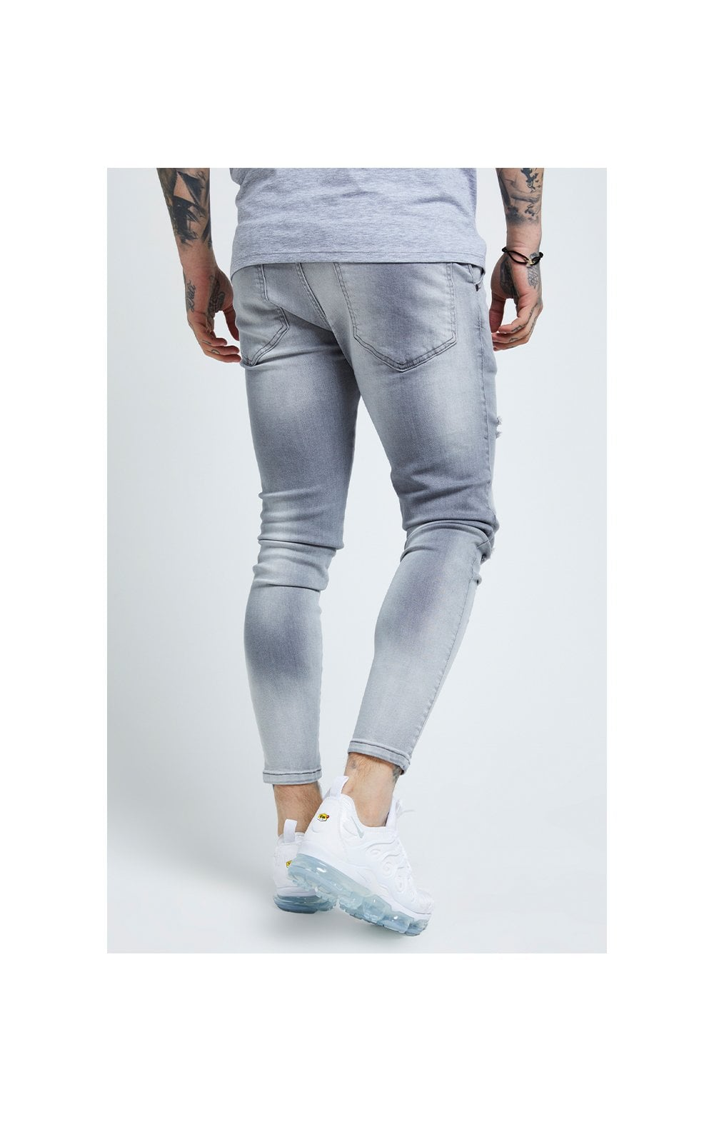 SikSilk Distressed Skinny Jeans – Washed Grey (2)