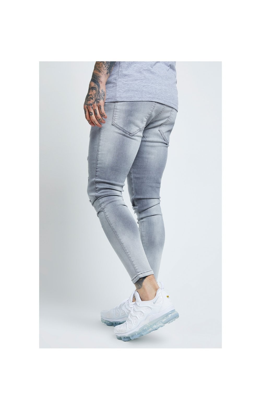 SikSilk Distressed Skinny Jeans – Washed Grey (3)
