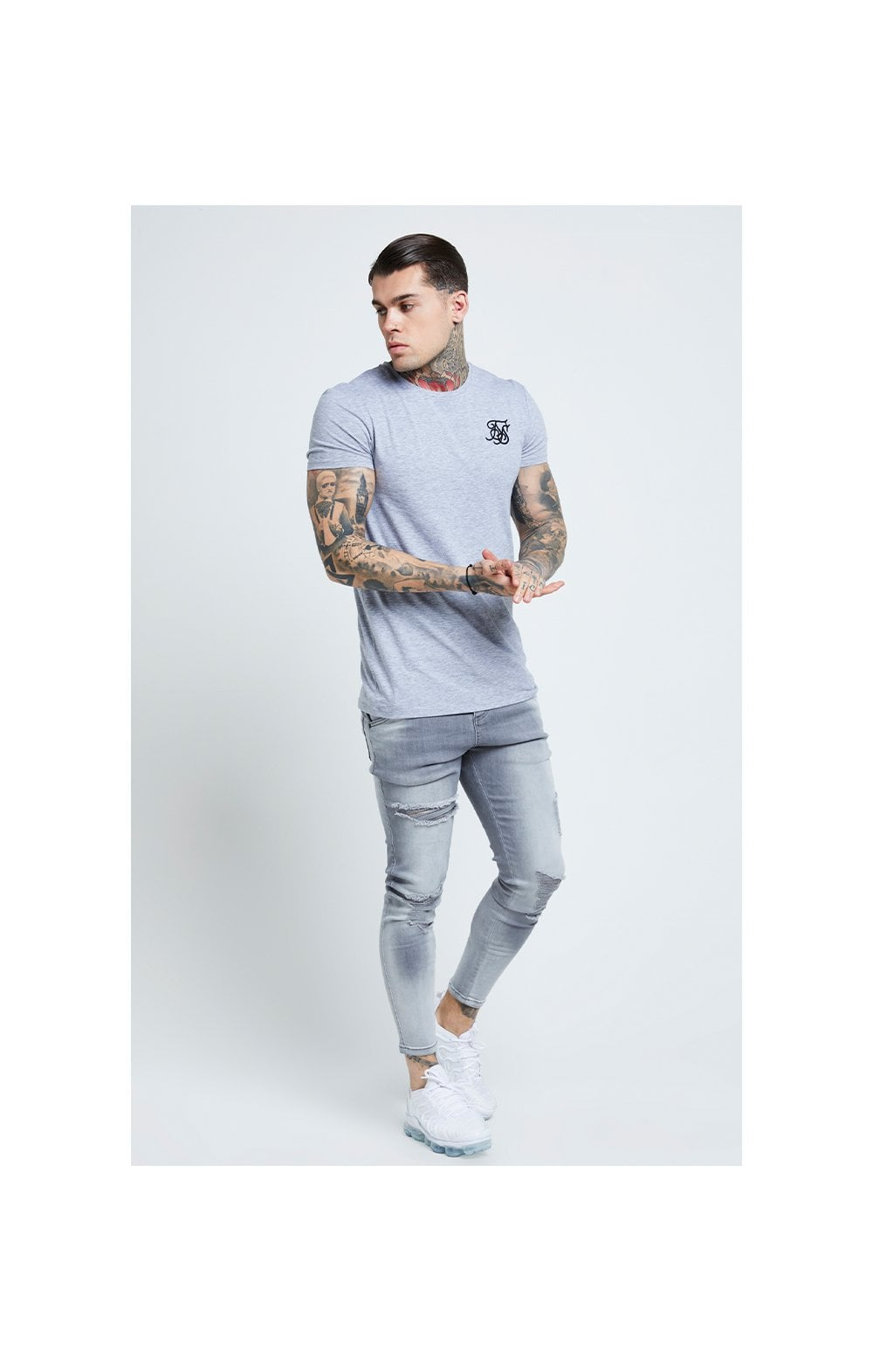 Load image into Gallery viewer, SikSilk Distressed Skinny Jeans – Washed Grey (4)