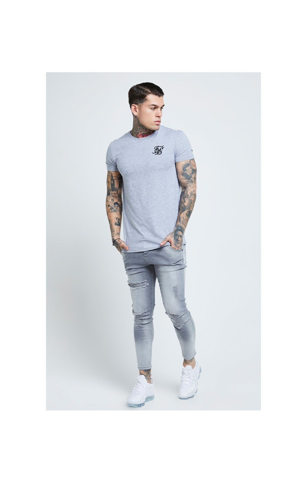 SikSilk Distressed Skinny Jeans – Washed Grey (5)