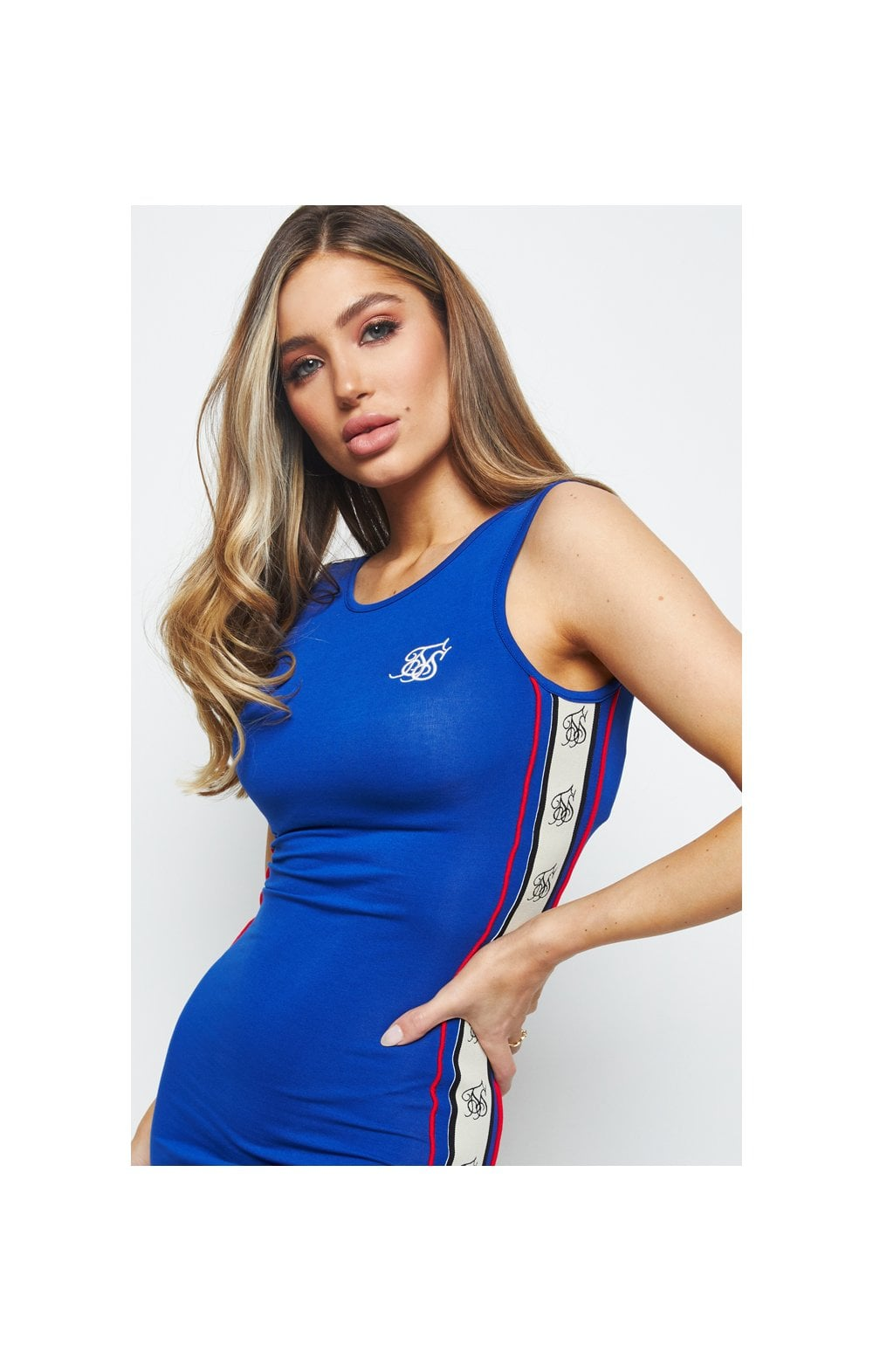 SikSilk Premium Tape Bodycon Dress – Blue