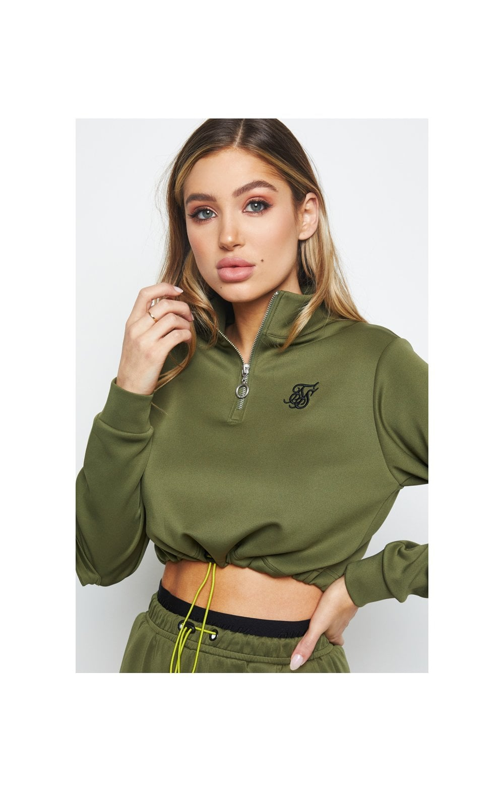 SikSilk Cargo Pocket Track Top - Khaki