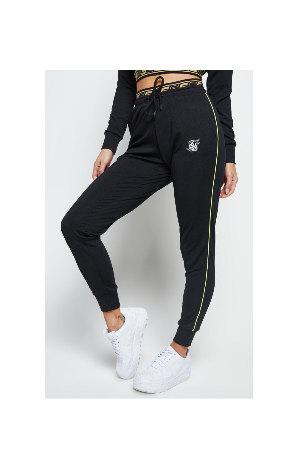 SikSilk Roma Tape Track Pants – Black