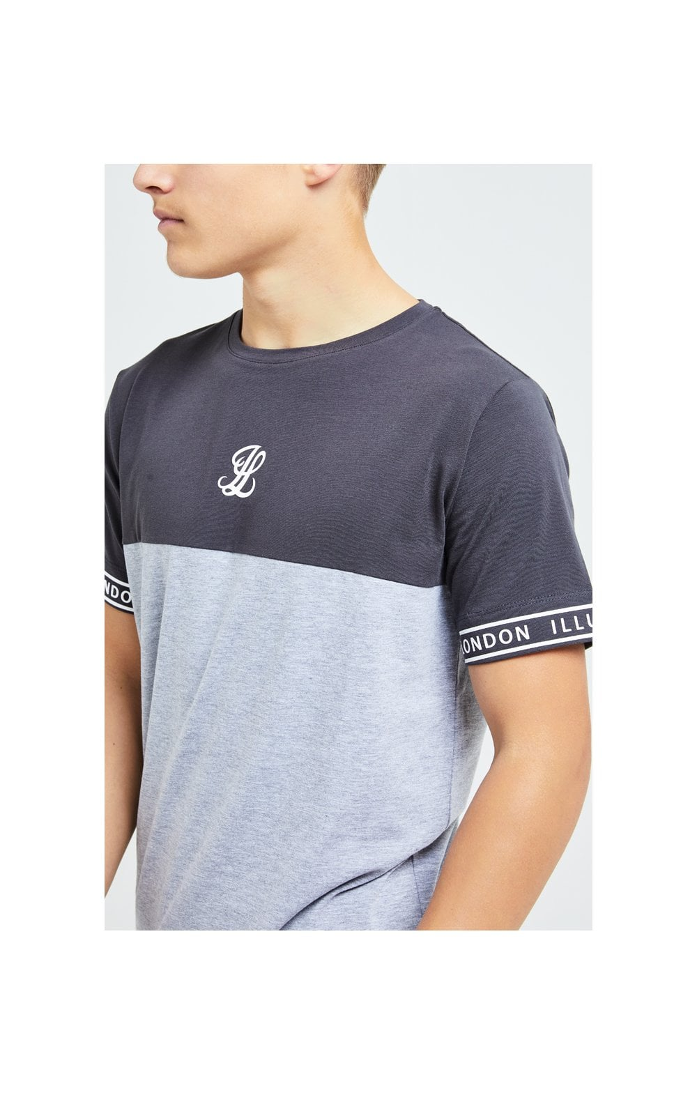 Illusive London Revere Cut And Sew Tee - Dark Grey & Light Grey Marl
