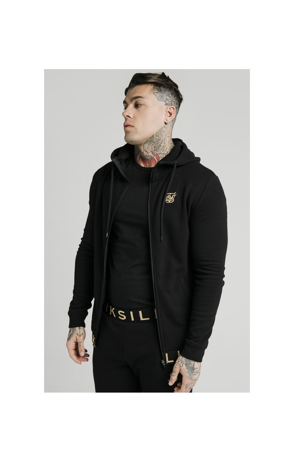 SikSilk Elastic Jacquard Zip Through Hoodie – Black