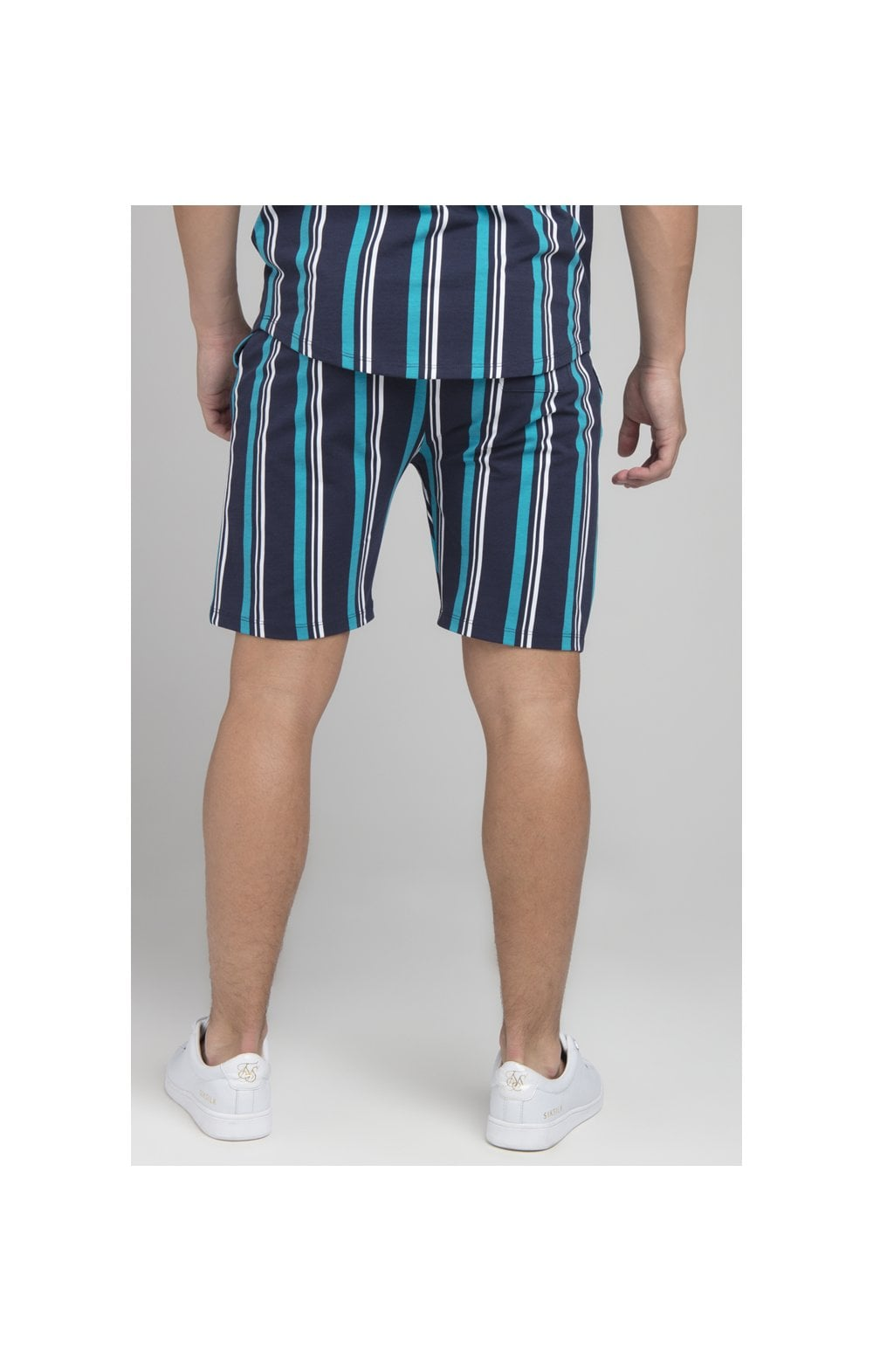 Illusive London Stripe Shorts - Navy & Teal (2)