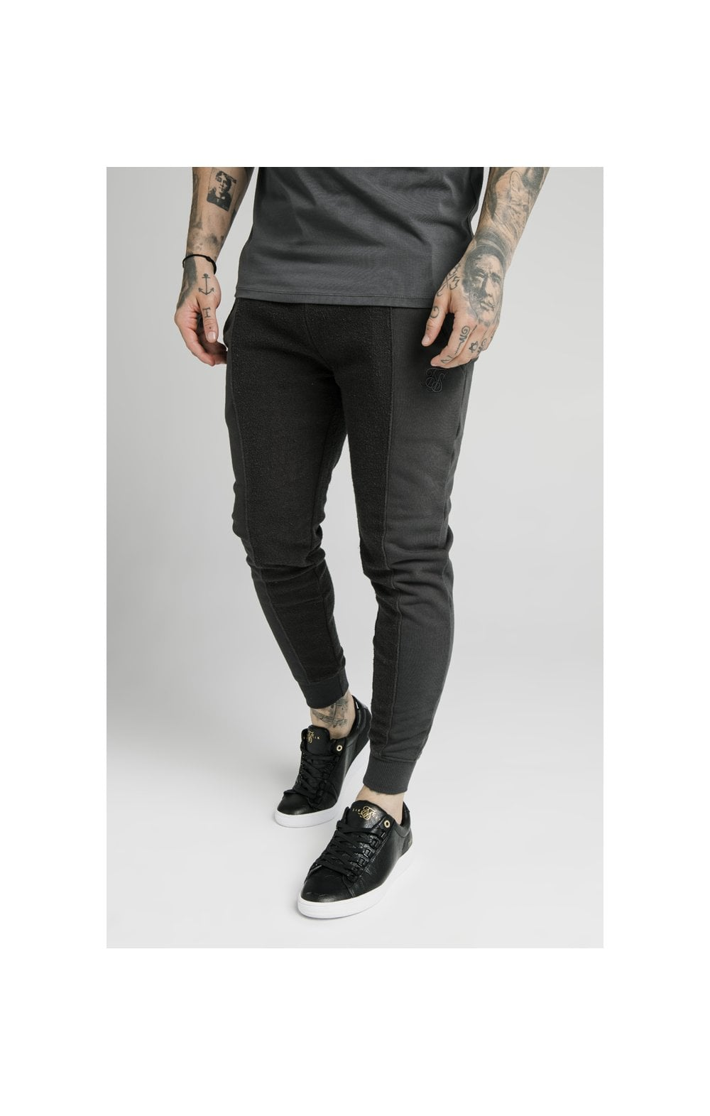 SikSilk Half & Half Fitted Jogger - Washed Grey