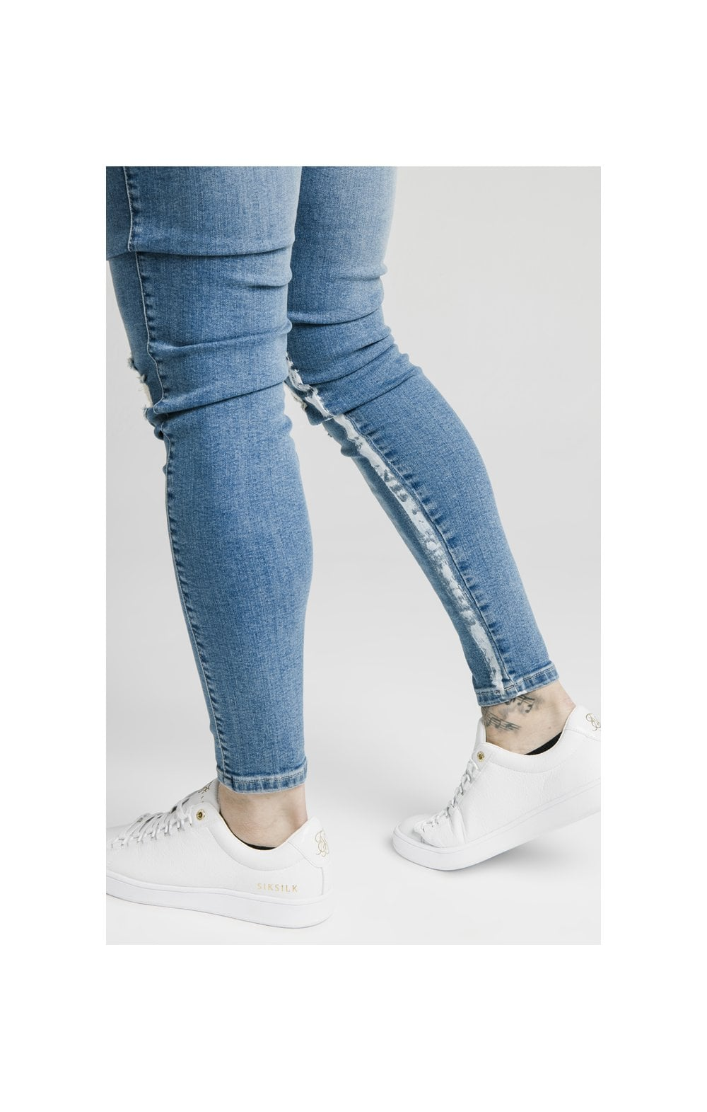 Load image into Gallery viewer, SikSilk Skinny Distressed Paint Stripe Denims - Midstone & White (1)