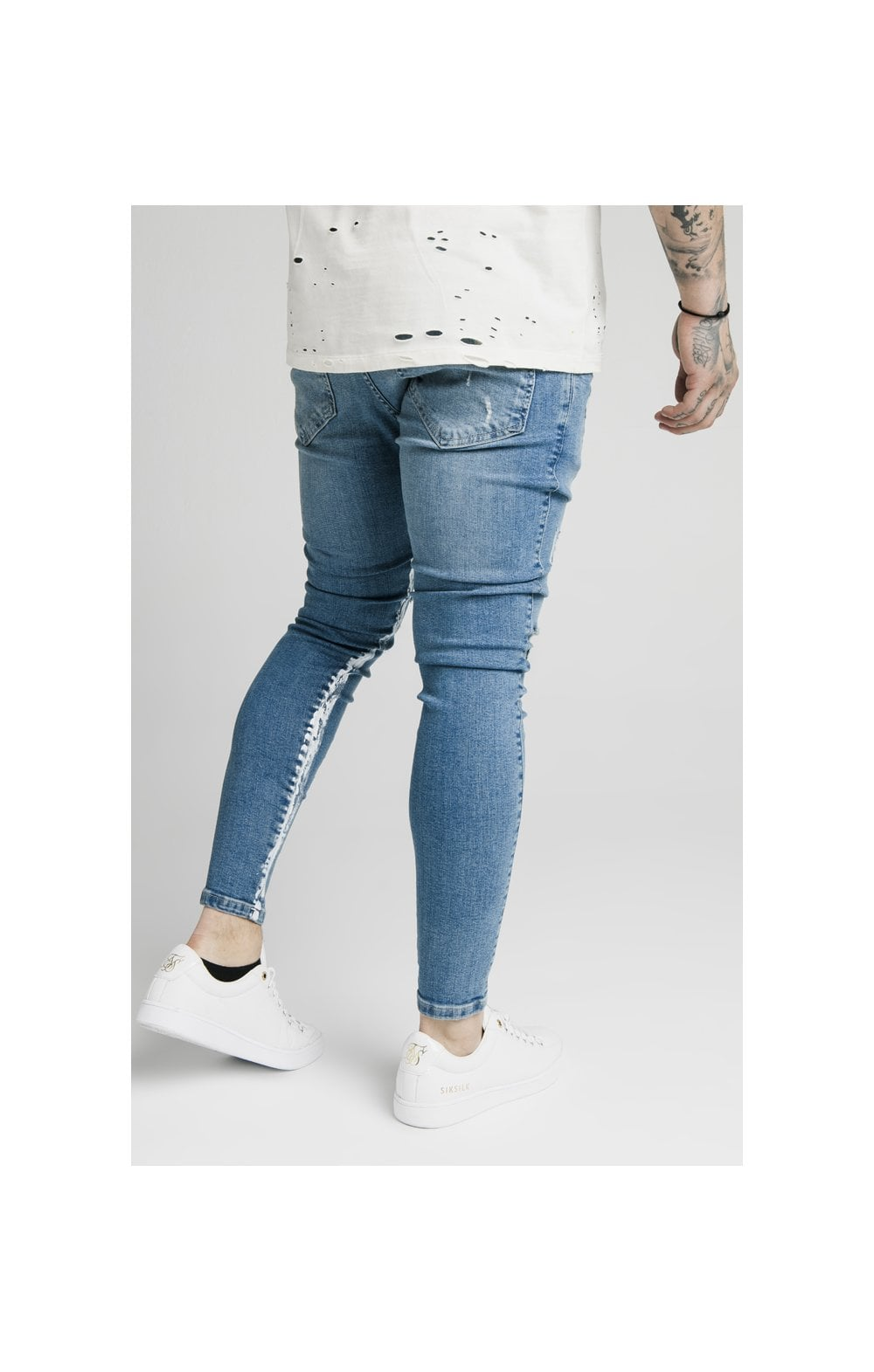 Load image into Gallery viewer, SikSilk Skinny Distressed Paint Stripe Denims - Midstone & White (2)