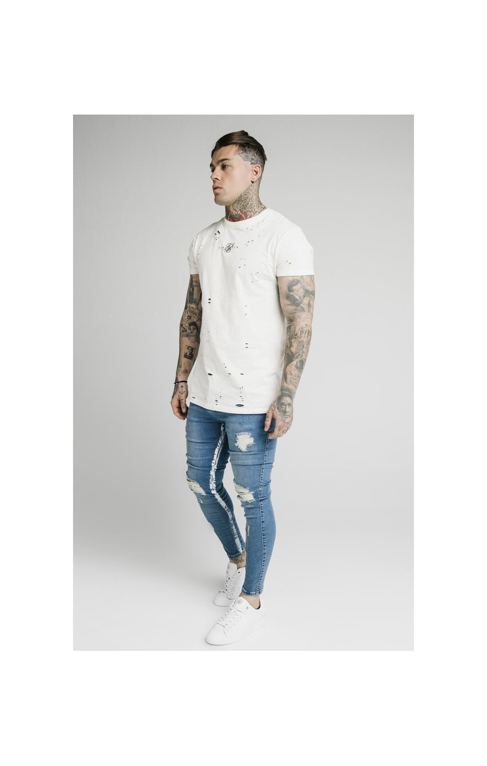 Load image into Gallery viewer, SikSilk Skinny Distressed Paint Stripe Denims - Midstone & White (3)