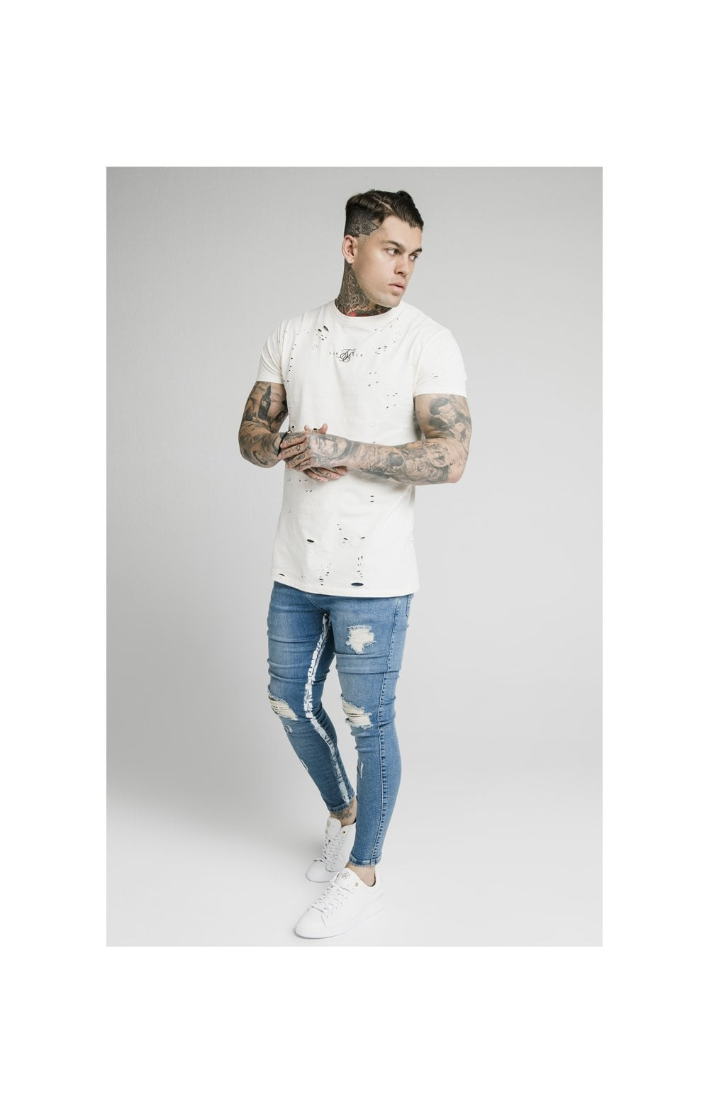 Load image into Gallery viewer, SikSilk Skinny Distressed Paint Stripe Denims - Midstone & White (4)