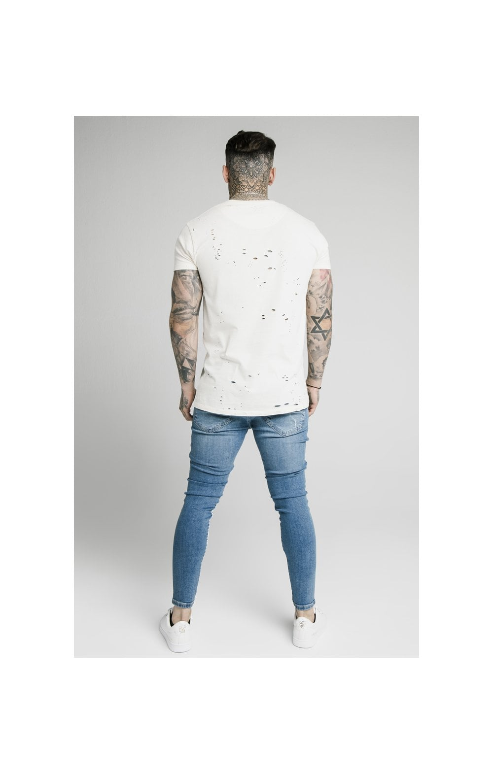Load image into Gallery viewer, SikSilk Skinny Distressed Paint Stripe Denims - Midstone & White (5)