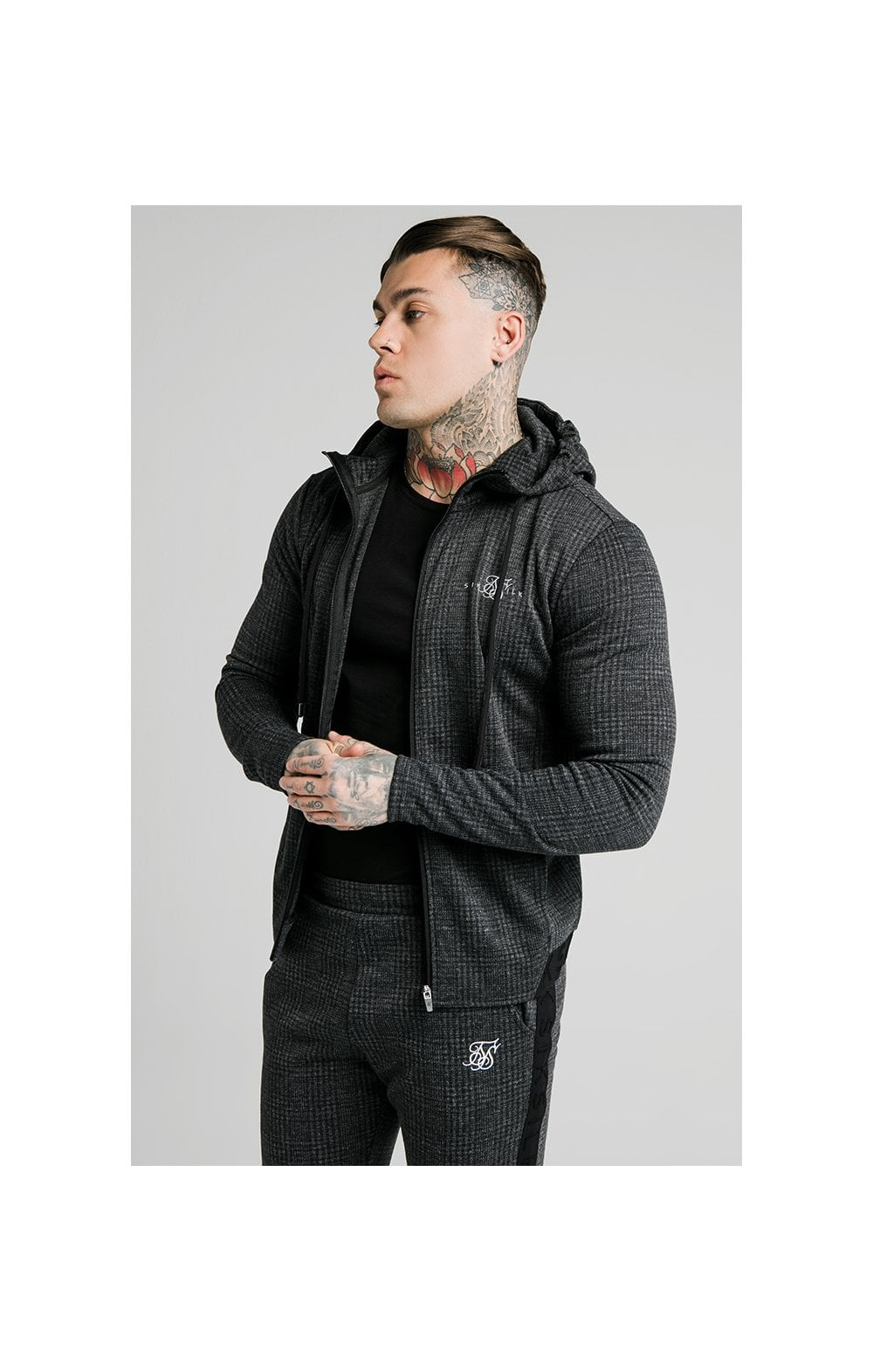 SikSilk Tonal Check Agility Zip Through Hoodie - Grey
