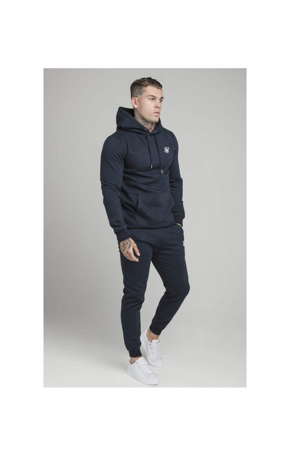 Load image into Gallery viewer, SikSilk Muscle Fit Overhead Hoodie - Navy (2)