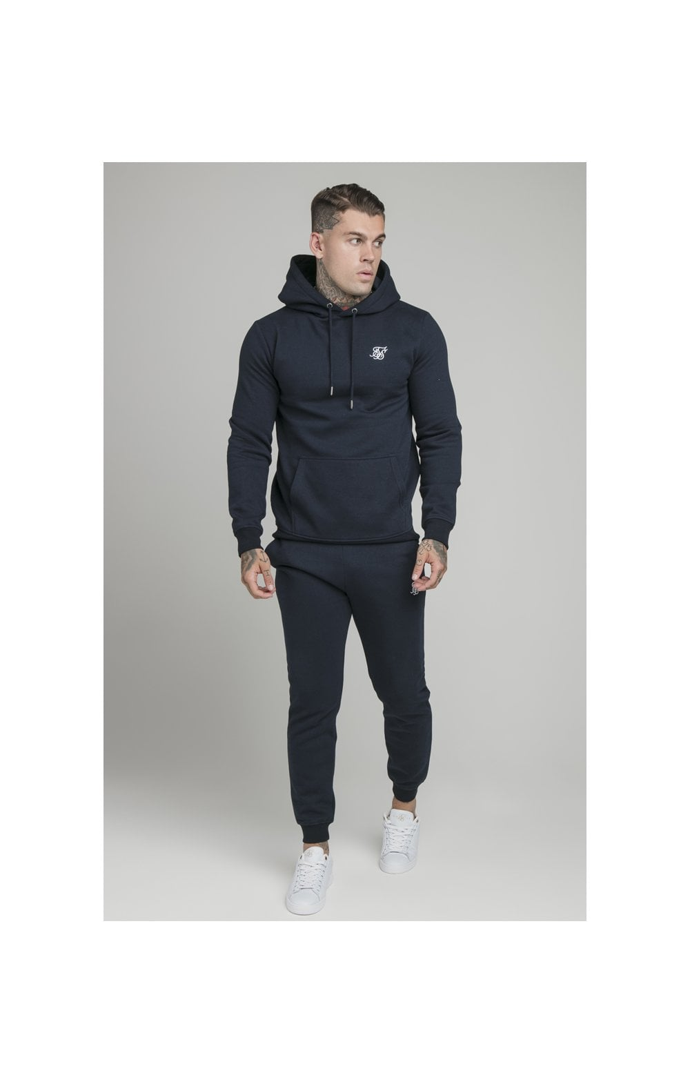 Load image into Gallery viewer, SikSilk Muscle Fit Overhead Hoodie - Navy (4)