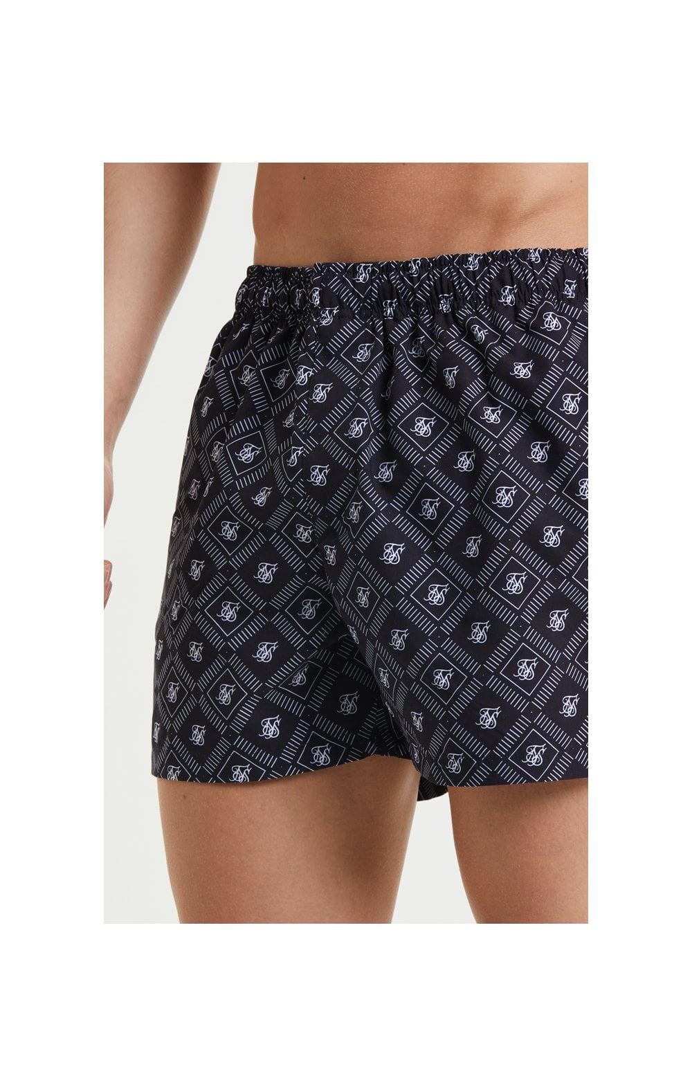 SikSilk AOP Swim Shorts - Black & White