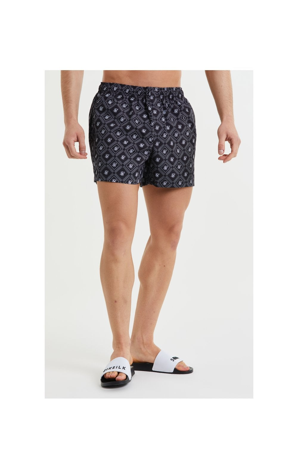SikSilk AOP Swim Shorts - Black & White (1)