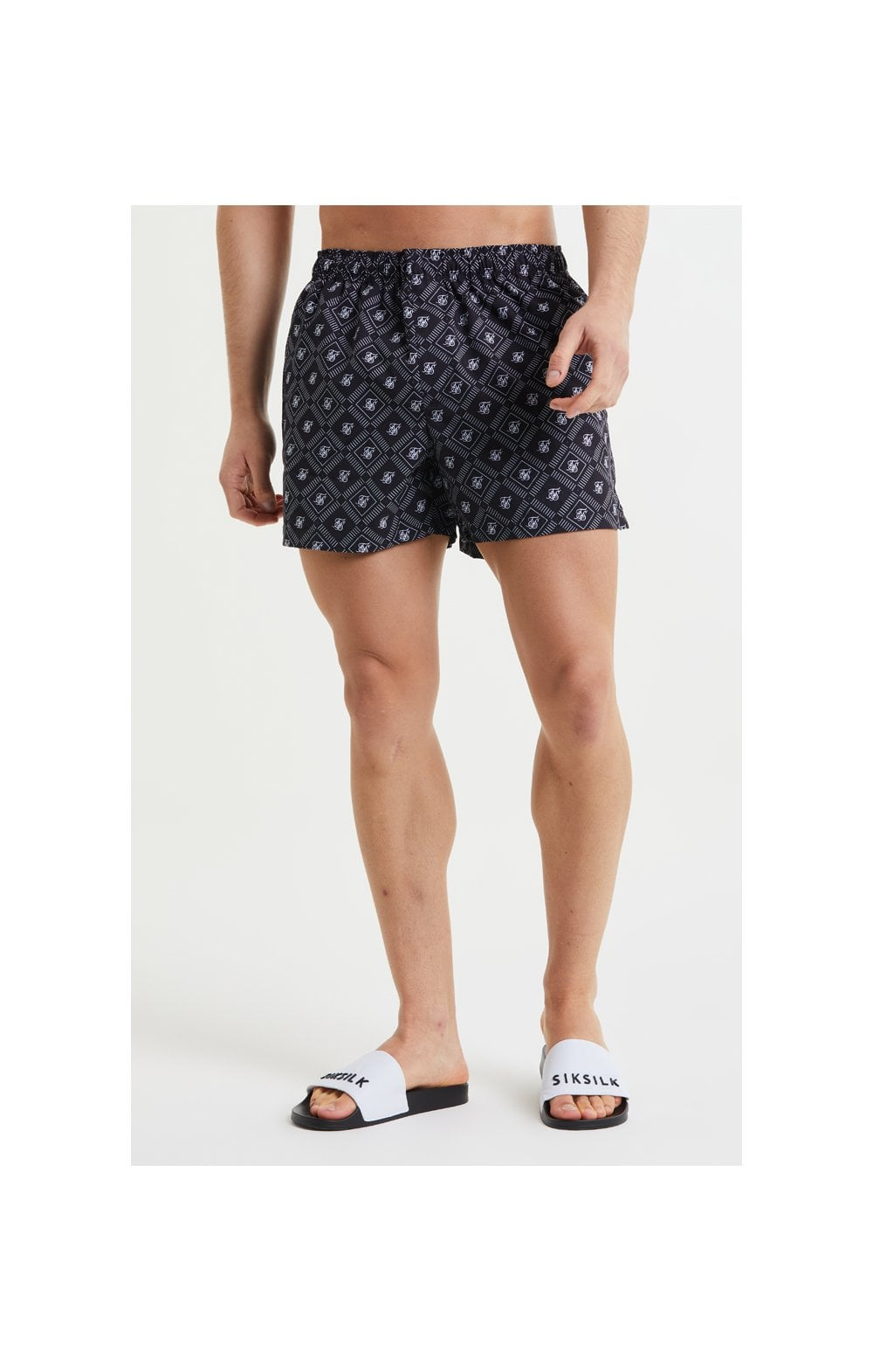 SikSilk AOP Swim Shorts - Black & White (2)