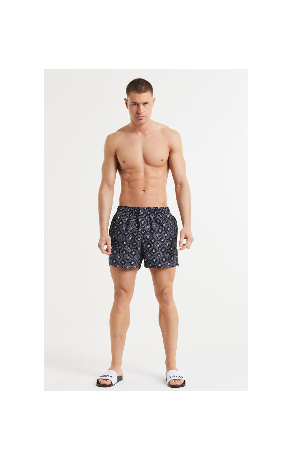 SikSilk AOP Swim Shorts - Black & White (5)