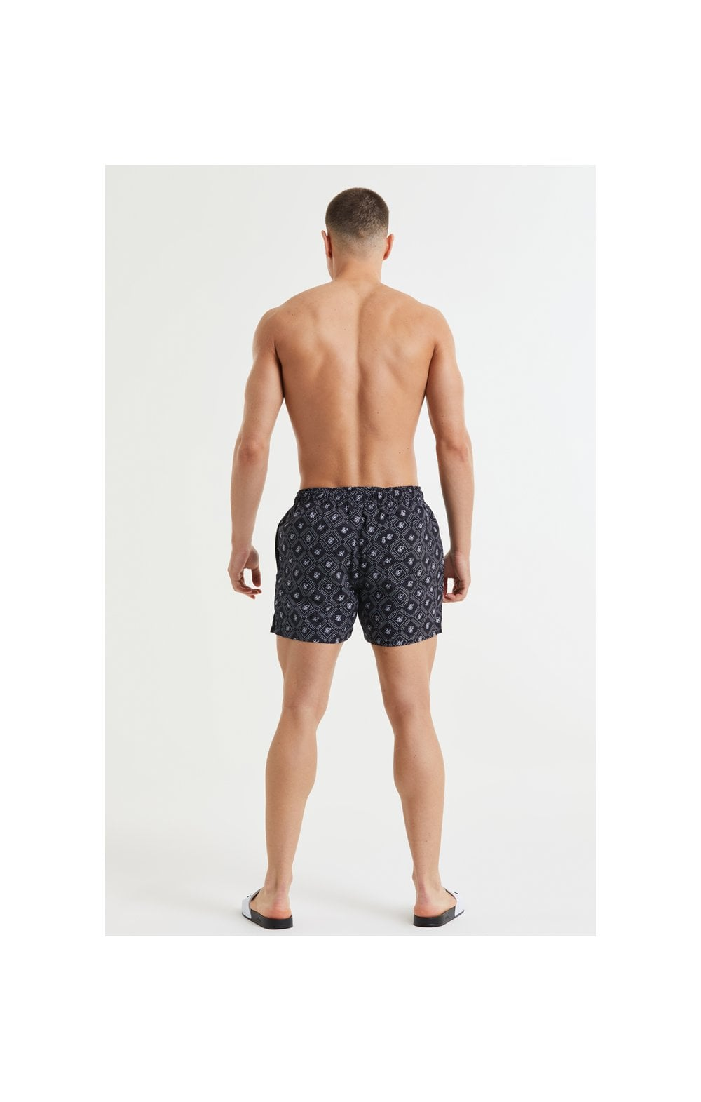 SikSilk AOP Swim Shorts - Black & White (6)