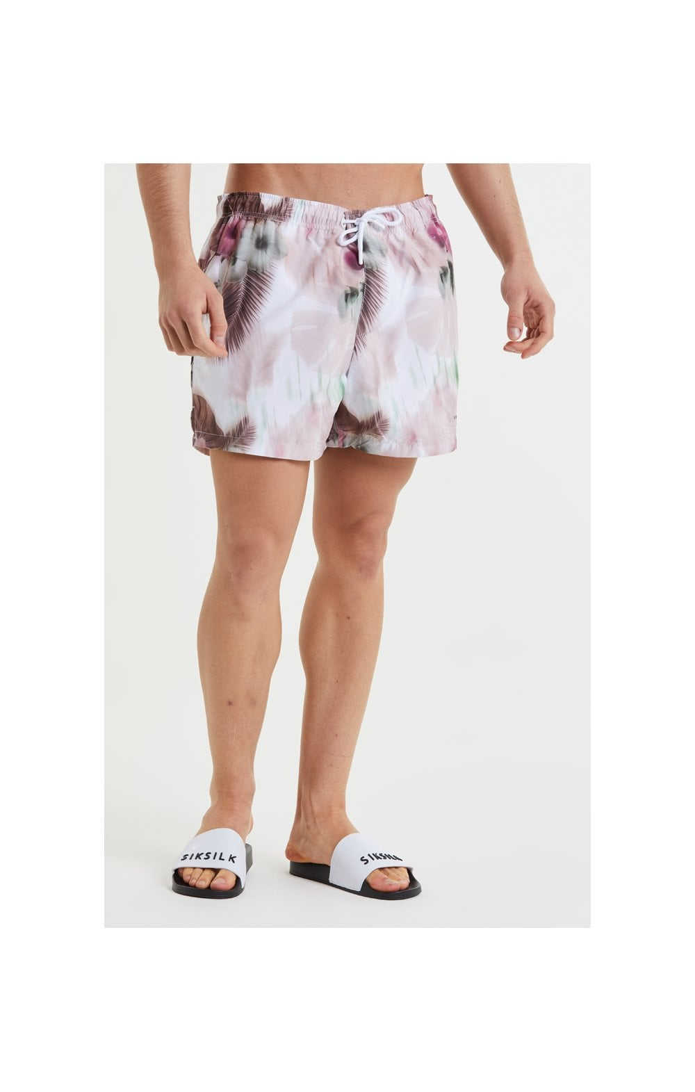 Load image into Gallery viewer, SikSilk Floral Blur Swim Shorts - Pink & White