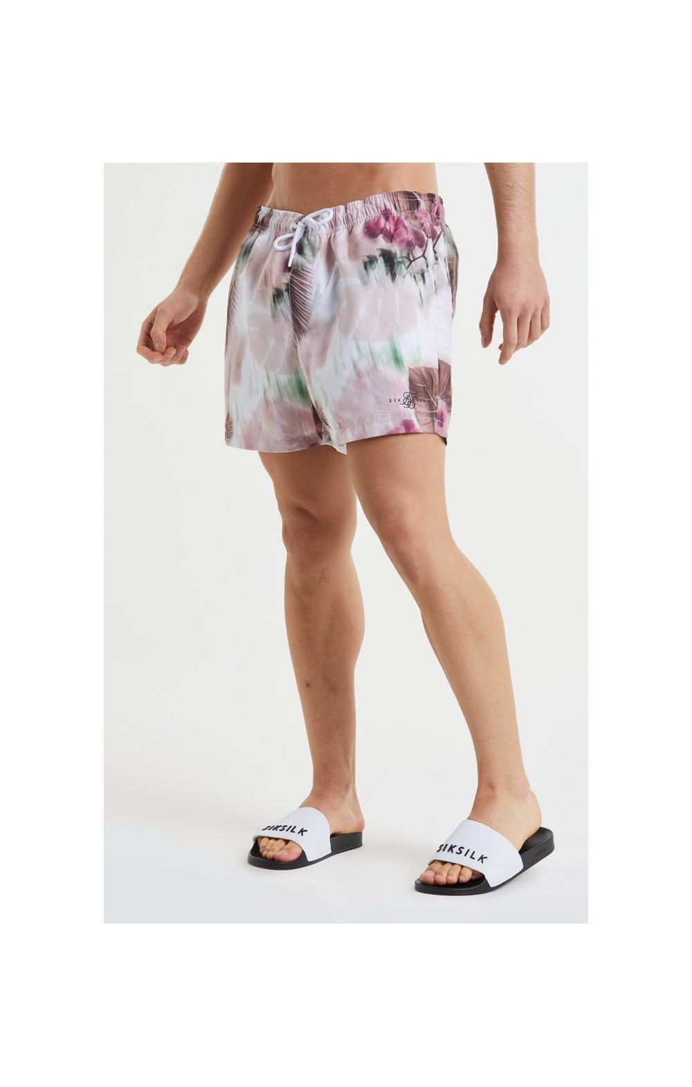 Load image into Gallery viewer, SikSilk Floral Blur Swim Shorts - Pink & White (1)