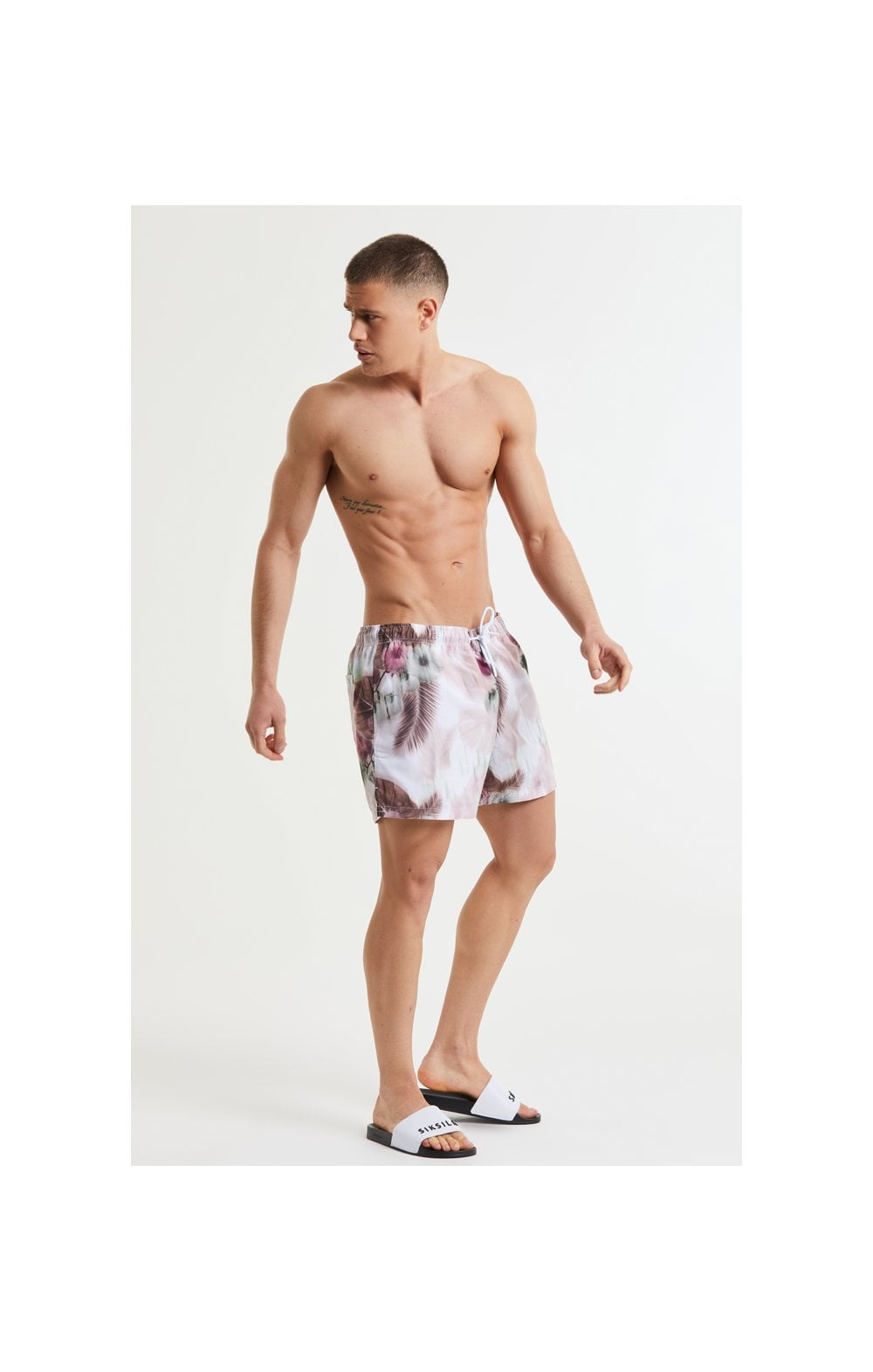 Load image into Gallery viewer, SikSilk Floral Blur Swim Shorts - Pink & White (4)