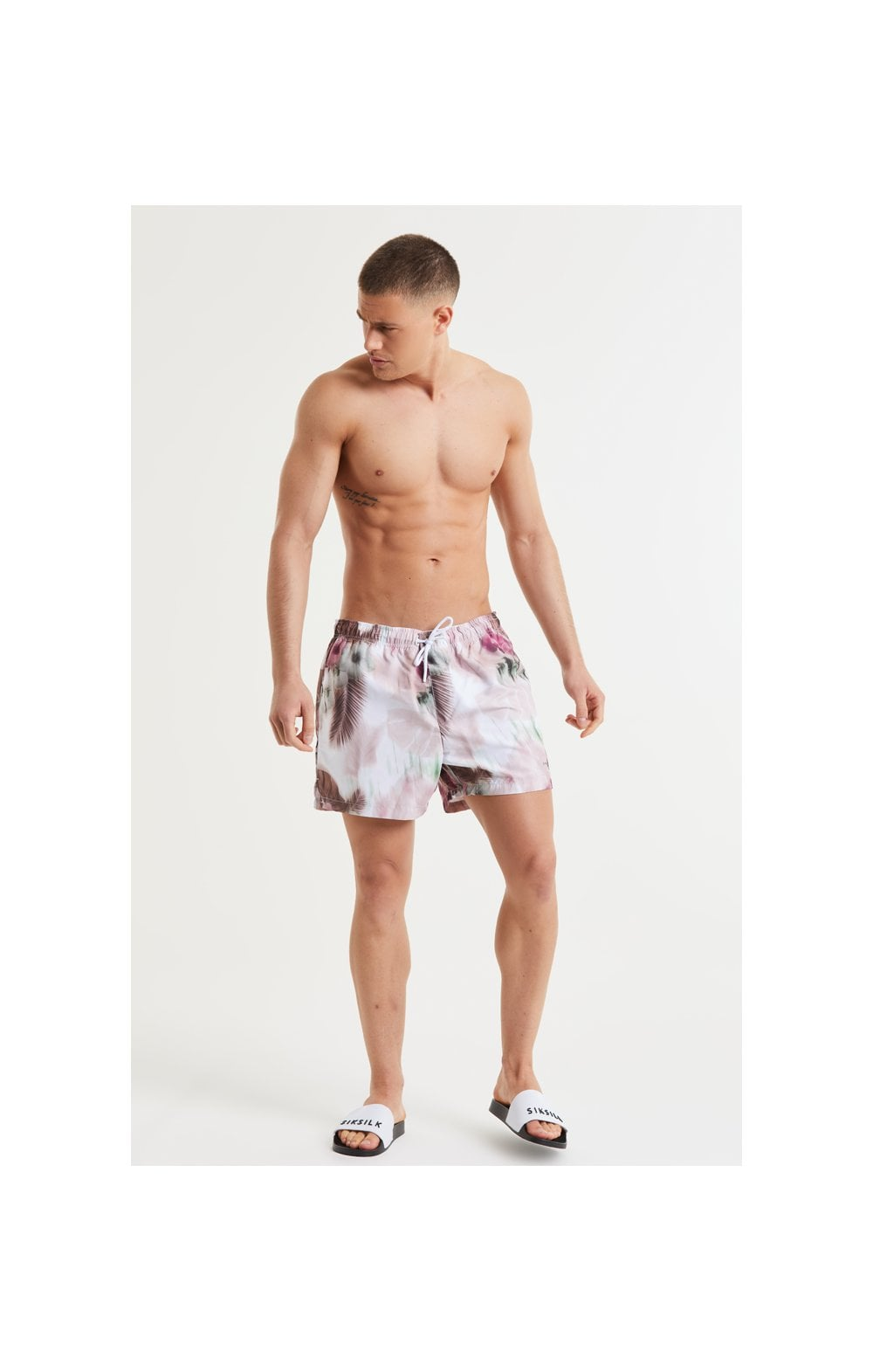 Load image into Gallery viewer, SikSilk Floral Blur Swim Shorts - Pink & White (6)