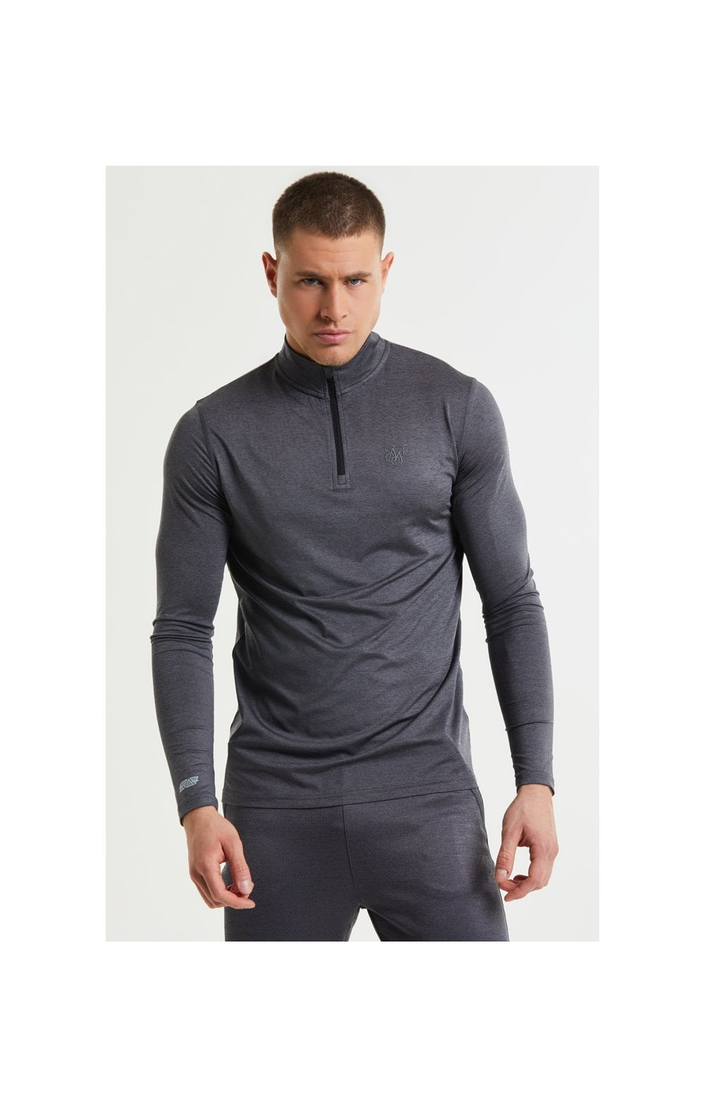 SikSilk Pressure Zip Funnel Neck - Charcoal Marl