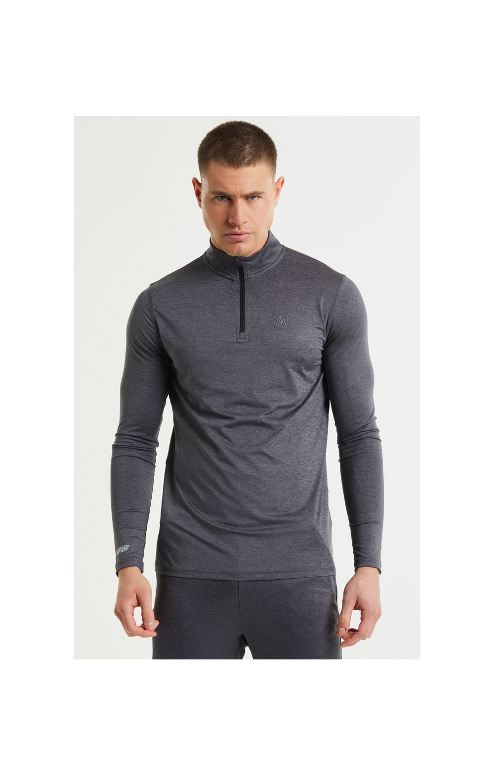 Load image into Gallery viewer, SikSilk Pressure Zip Funnel Neck - Charcoal Marl (2)