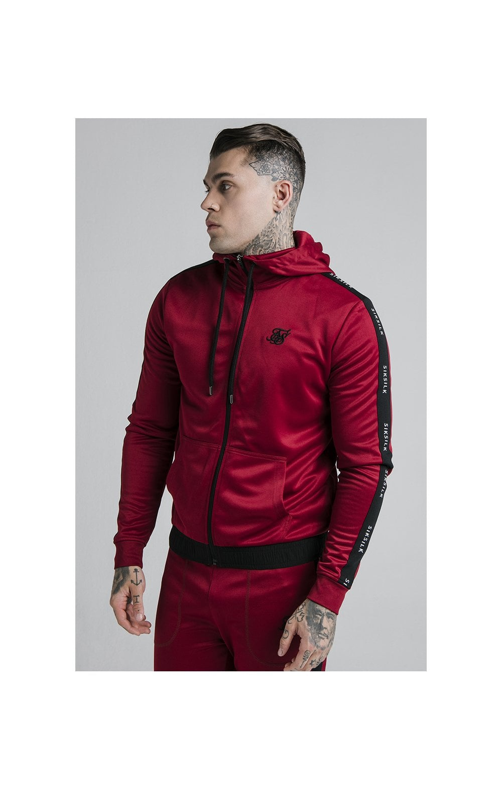 SikSilk Shadow Zip Through Hoodie - Deep Red & Black
