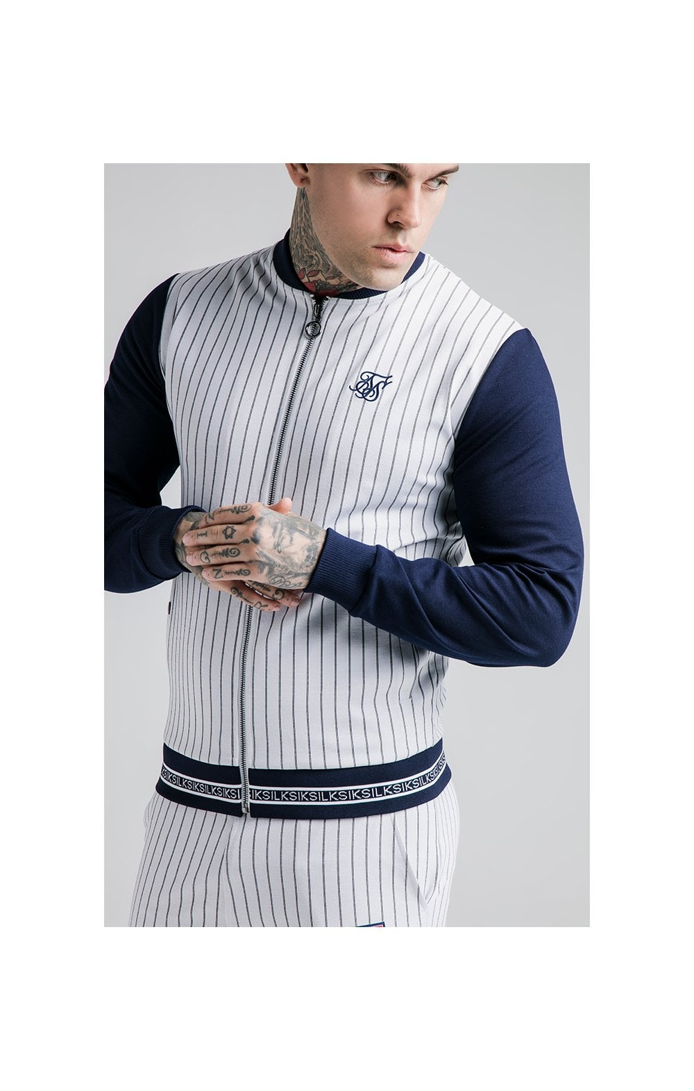 SikSilk Retro Sports Bomber - Navy & White