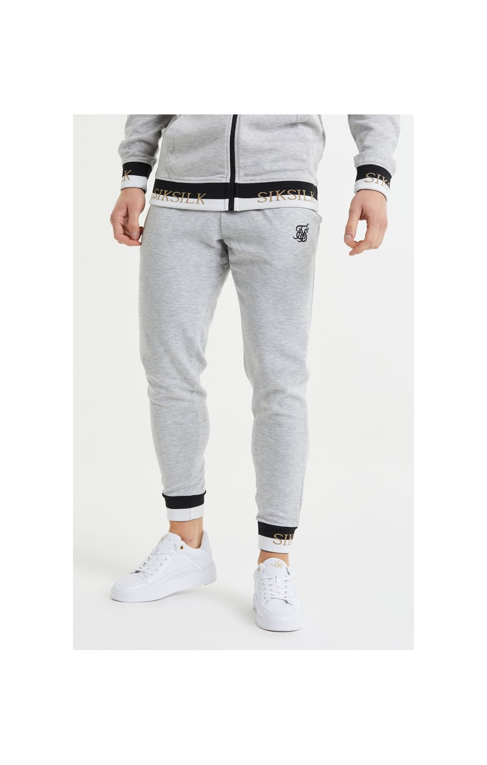 SikSilk Deluxe Fitted Jogger - Grey Marl