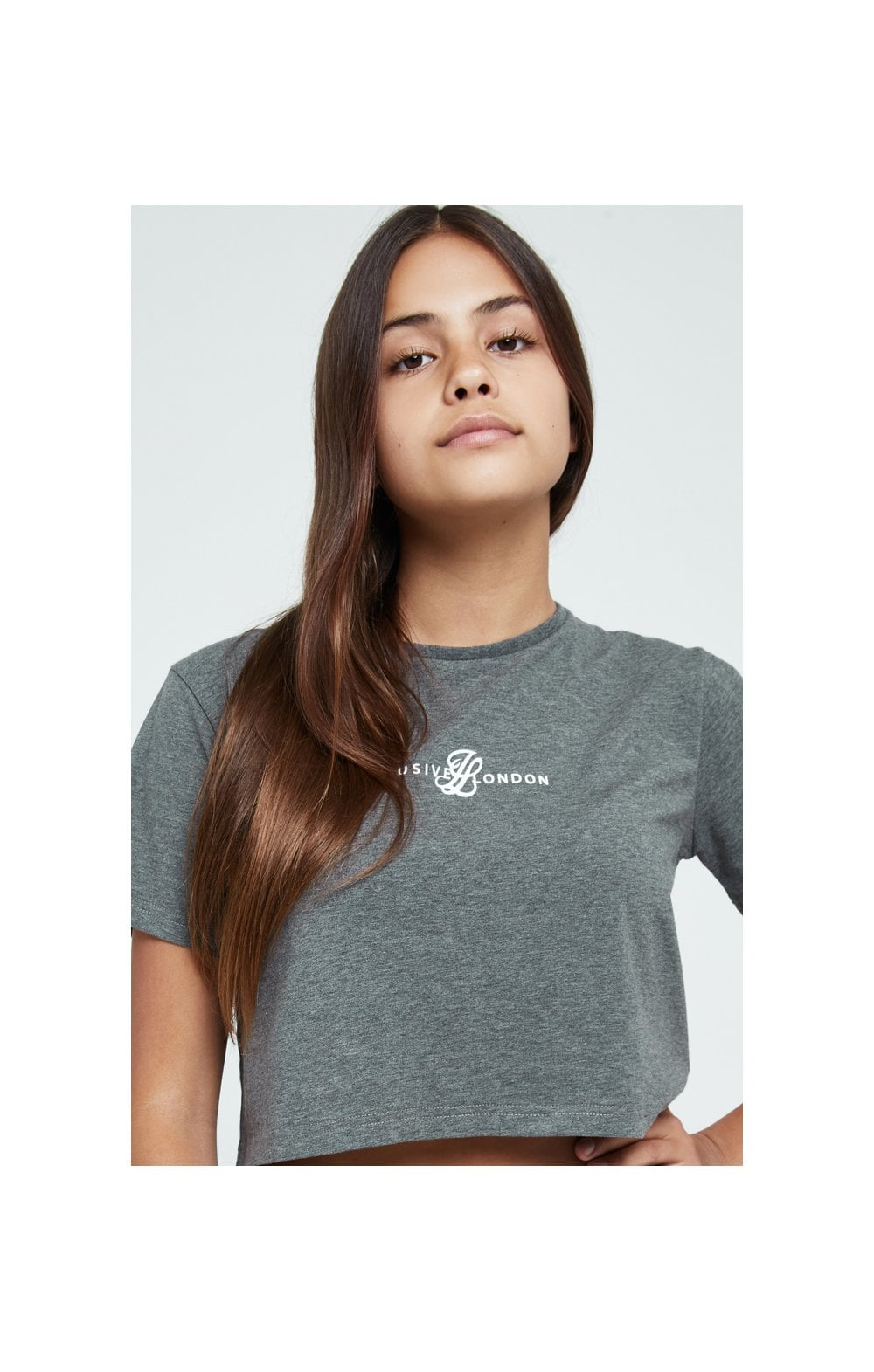 Illusive London Dual Crop Tee - Grey Marl