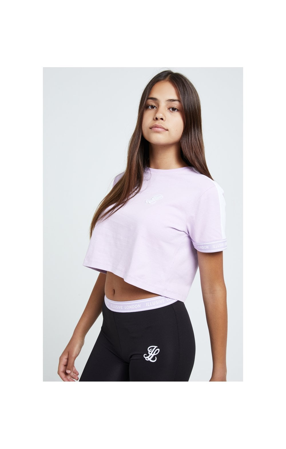 Illusive London Tape Cuff Crop Tee - Lilac