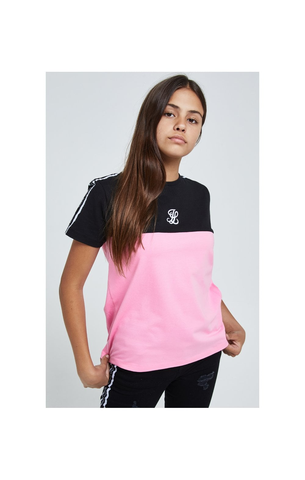 Load image into Gallery viewer, Illusive London Colour Block Tape Tee - Black & Pink