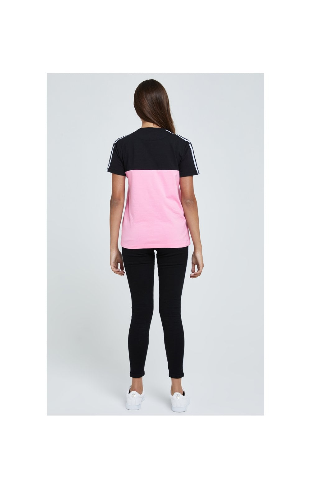 Load image into Gallery viewer, Illusive London Colour Block Tape Tee - Black & Pink (4)