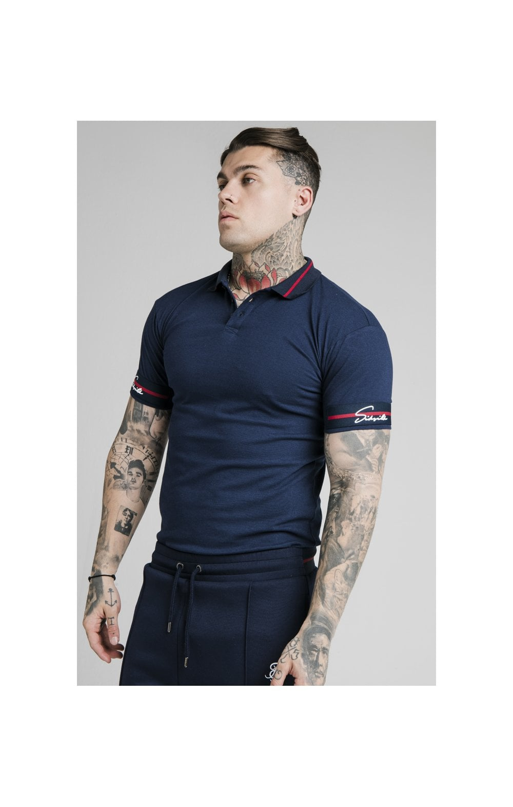 SikSilk Pique Polo Shirt Exposed Tape - Navy