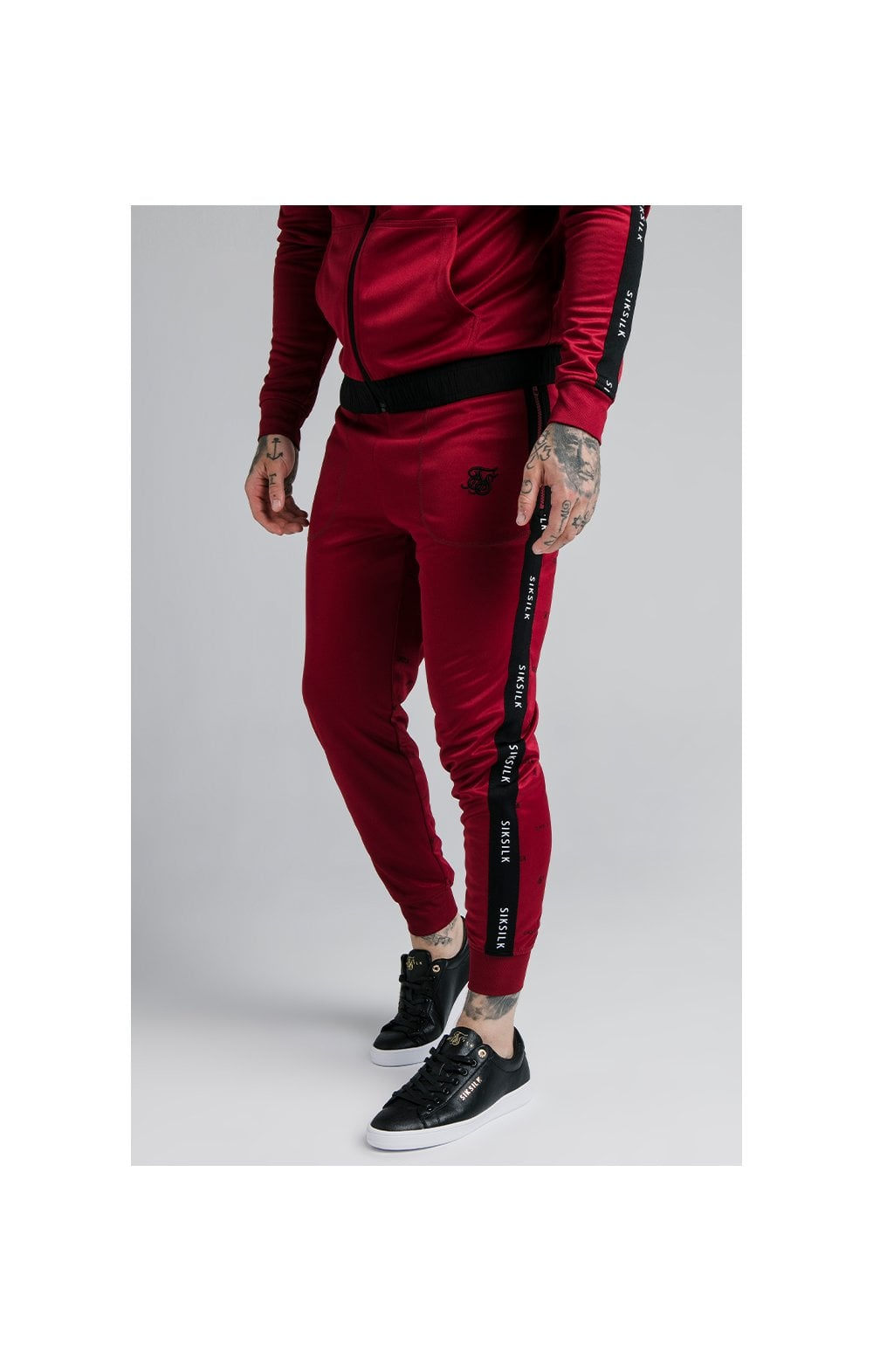 SikSilk Shadow Cuffed Jogger - Deep Red & Black