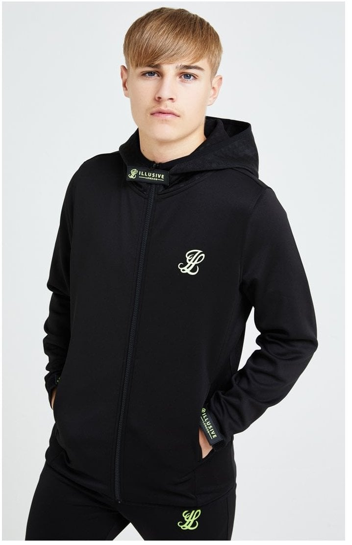Illusive London Element Agility Zip Through Hoodie - Black & Green