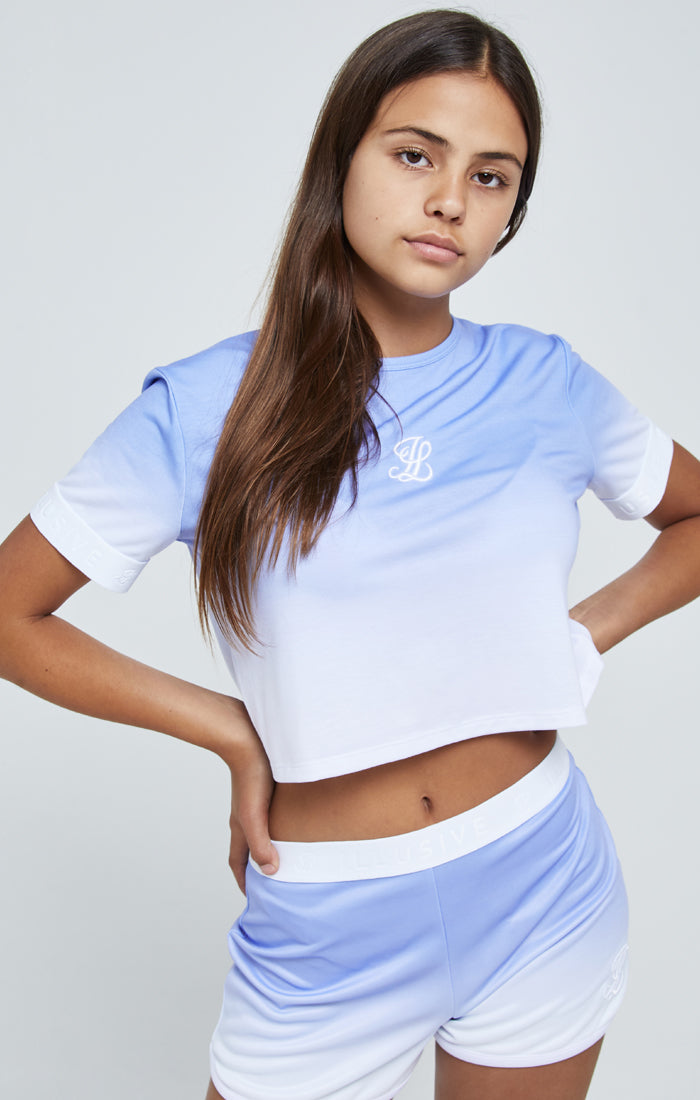 Illusive London Fade Tape Crop Tee - Purple & White