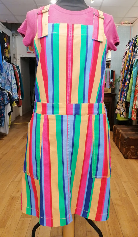Rainbow stripe pinafore dress