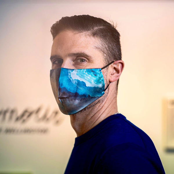 Paul Desbaillets Wears Blue Nathon Kong Silk Face Mask