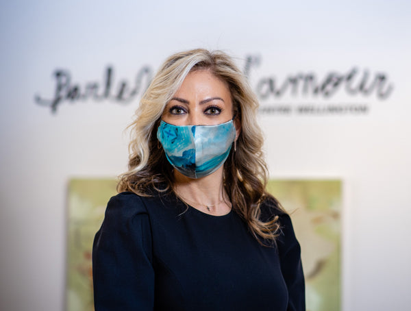 Andrea Soueidan Wears Nathon Kong Blue Silk Face Mask Made in Quebec