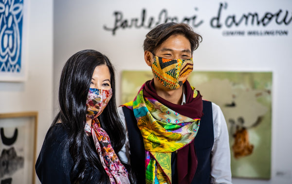 Colourful Silk Scarves with Matching Face Masks | Nathon Kong