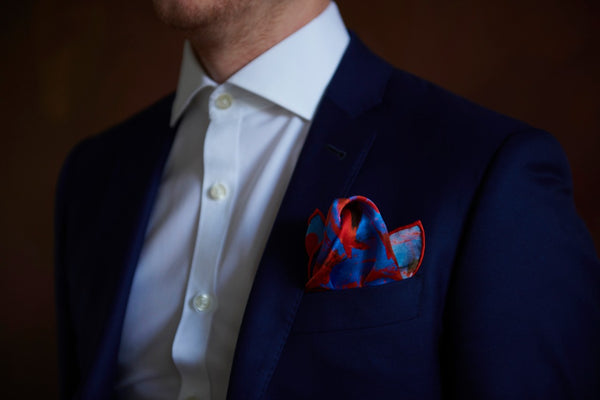 Blue and Red High End Silk Pocket Square For Men Suit | Nathon Kong