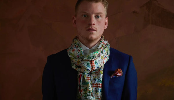 Men's Silk Scarf with Suit with Limited Edition Art by Sergio Larenas
