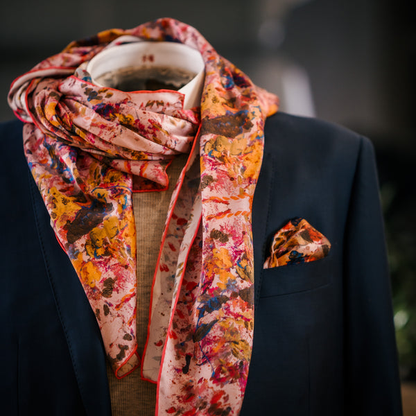 Pink Mulberry Silk Scarf with Suits Made in Quebec | Nathon Kong