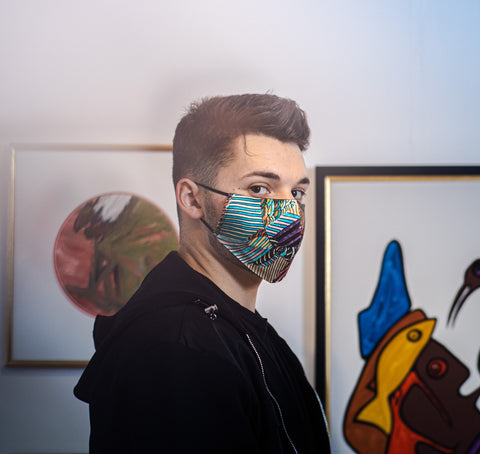 Stefano wears Nathon Kong Blue Silk Face Mask Made in Canada | Nathon Kong