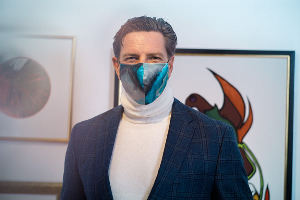 Patrice Brisebois Wears Silk Face Mask Made in Montreal | Nathon Kong